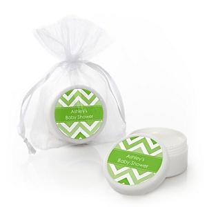 Chevron Green - Personalized Baby Shower Lip Balm Favors