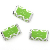 Green Chevron - Personalized Baby Shower Mini Candy Bar Wrapper Favors - 20 ct