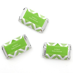 Chevron Green - Personalized Baby Shower Mini Candy Bar Wrapper Favors - 20 ct
