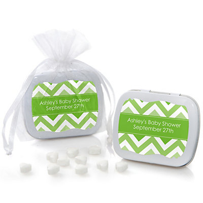Green Chevron - Mint Tin Personalized Baby Shower Favors...