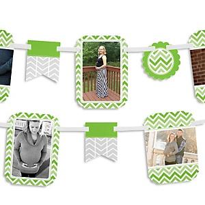 Green Chevron - Baby Shower Photo Bunting Banner