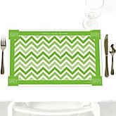 Chevron Green - Personalized Baby Shower Placemats