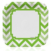 Chevron Green - Baby Shower Dinner Plates - 8 ct