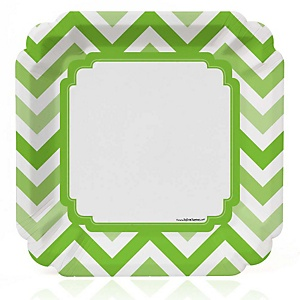 Green Chevron - Baby Shower Dinner Plates - 8 Pack