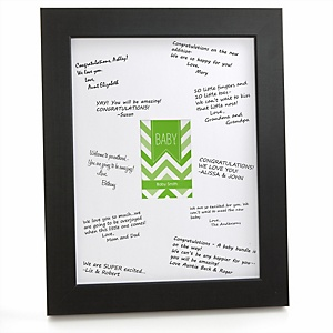 Green Chevron - Personalized Baby Shower Print with Signature Mat