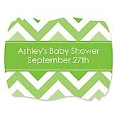 Green Chevron - Personalized Baby Shower Squiggle Sticker Labels - 16 Count