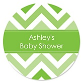 Green Chevron - Personalized Baby Shower Round Sticker Labels - 24 Count