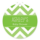 Chevron Green - Round Personalized Baby Shower Tags - 20 ct
