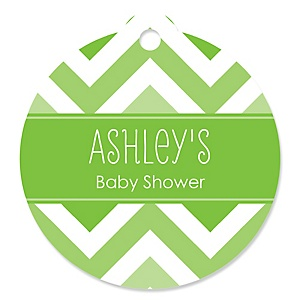 Green Chevron - Personalized Baby Shower Round Tags - 20 Count