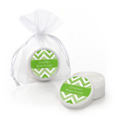Chevron Green - Personalized Bridal Shower Lip Balm Favors...