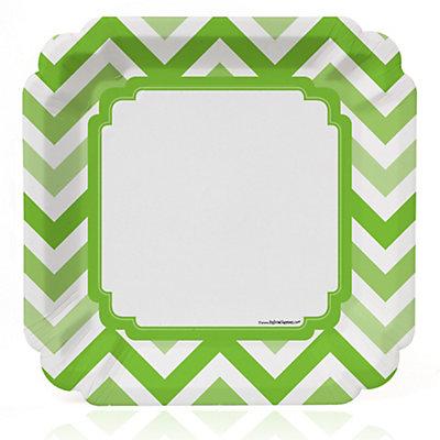 Chevron Green - Bridal Shower Dinner Plates - 8 ct...