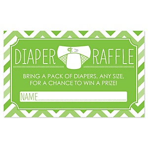 Green Chevron - Baby Shower Diaper Raffle Game - 18 Count