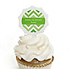 Chevron Green - Personalized Everyday Party Cupcake Pick and Sticker Kit - 12 ct