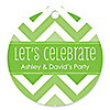 Chevron Green - Round Personalized Everyday Party Tags - 20 ct