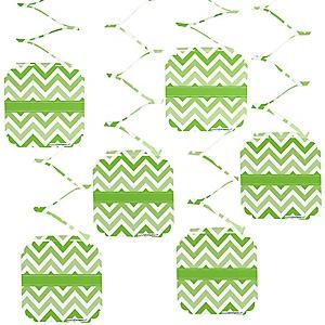 Chevron Green - Baby Shower Hanging Decorations - 6 ct