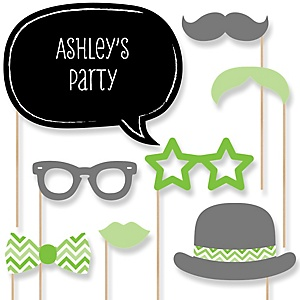Green Chevron - Baby Shower Photo Booth Props Kit - 20 Props