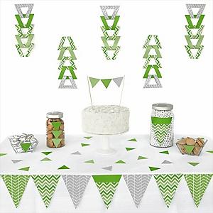 Chevron Green - 72 Piece Triangle Party Decoration Kit