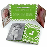 Chevron Green - Photo Birth Announcements