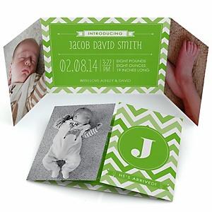 Green Chevron - Photo Birth Announcements