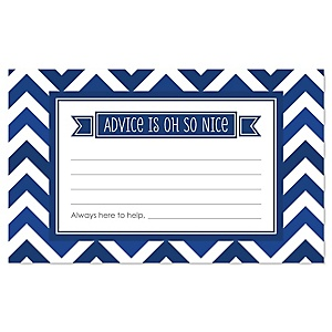 Navy Chevron - Baby Shower Helpful Hint Advice Cards Game - 18 Count