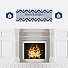 Merry & Bright - Chevron Navy and Gray - Personalized Christmas Dinner Party Banners