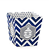 Merry & Bright - Chevron Navy and Gray - Christmas Dinner Party Candy Boxes