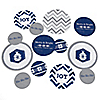 Merry & Bright - Chevron Navy and Gray - Personalized Christmas Dinner Party Table Confetti - 27 ct