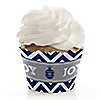 Merry & Bright - Chevron Navy and Gray - Christmas Dinner Party Cupcake Wrappers & Decorations