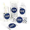 Merry & Bright - Chevron Navy and Gray - DIY Christmas Dinner Party Wrapper - 15 ct