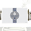 Merry & Bright - Chevron Navy and Gray - Personalized Christmas Dinner Party Placemats
