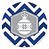 Merry & Bright - Chevron Navy and Gray - Christmas Party Sticker Labels - 24 ct
