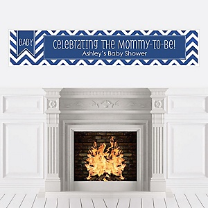 Chevron Navy - Personalized Baby Shower Banners