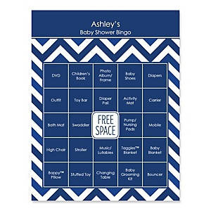 Navy Chevron - Bingo Personalized Baby Shower Games - 16 Count