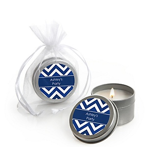 Navy Chevron - Candle Tin Personalized Baby Shower Favors