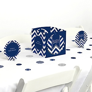 Chevron Navy - Baby Shower Centerpiece & Table Decoration Kit
