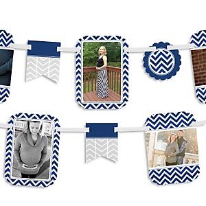 Chevron Navy - Baby Shower Photo Garland Banners