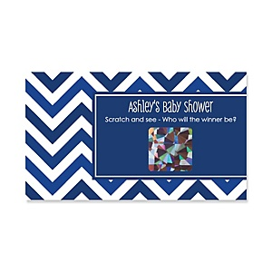 Chevron Navy - Personalized Baby Shower Game Scratch Off Cards - 22 ct