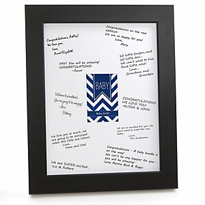 Navy Chevron - Personalized Baby Shower Print with Signature Mat