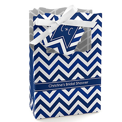 Chevron Navy - Personalized Bridal Shower Favor Boxes...