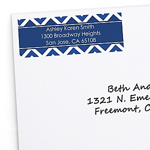 Navy Chevron - Personalized Baby Shower Return Address Labels - 30 Count