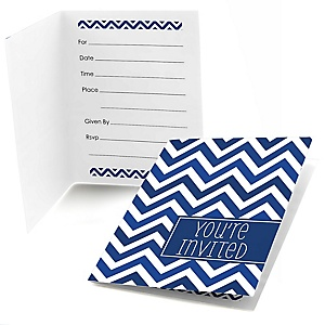 Navy Chevron - Fill In Baby Shower Invitations - Set of  8