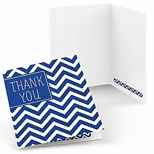 Chevron Navy - Party Thank You Cards - 8 ct