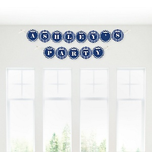 Chevron Navy - Personalized Party Garland Letter Banners