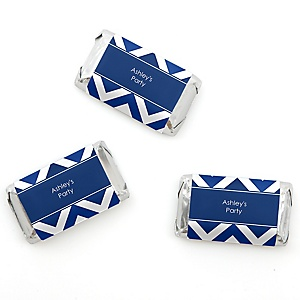 Chevron Navy - Personalized Mini Candy Bar Wrapper Sticker Label Party Favors - 20 ct