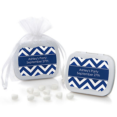 Navy Chevron - Mint Tin Personalized Baby Shower Favors...