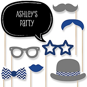 Navy Chevron - Baby Shower Photo Booth Props Kit - 20 Props