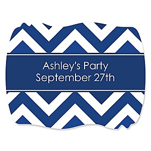 Chevron Navy - Personalized Party Squiggle Stickers - 16 ct