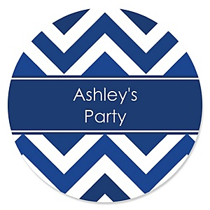Chevron Navy - Personalized Party Sticker Labels - 24 ct