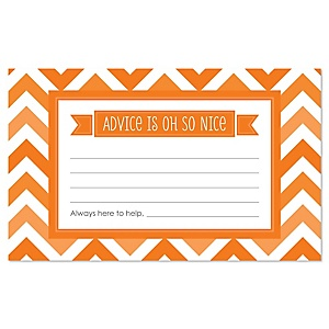 Orange Chevron - Baby Shower Helpful Hint Advice Cards Game - 18 Count