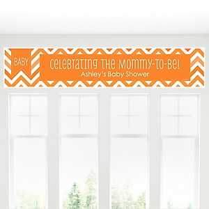 Chevron Orange - Personalized Baby Shower Banners